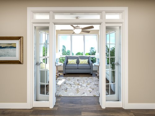 French doors open into a sunny retirement home